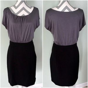 ANN TAYLOR LOFT Gray Black Work Career Dress Sz 4